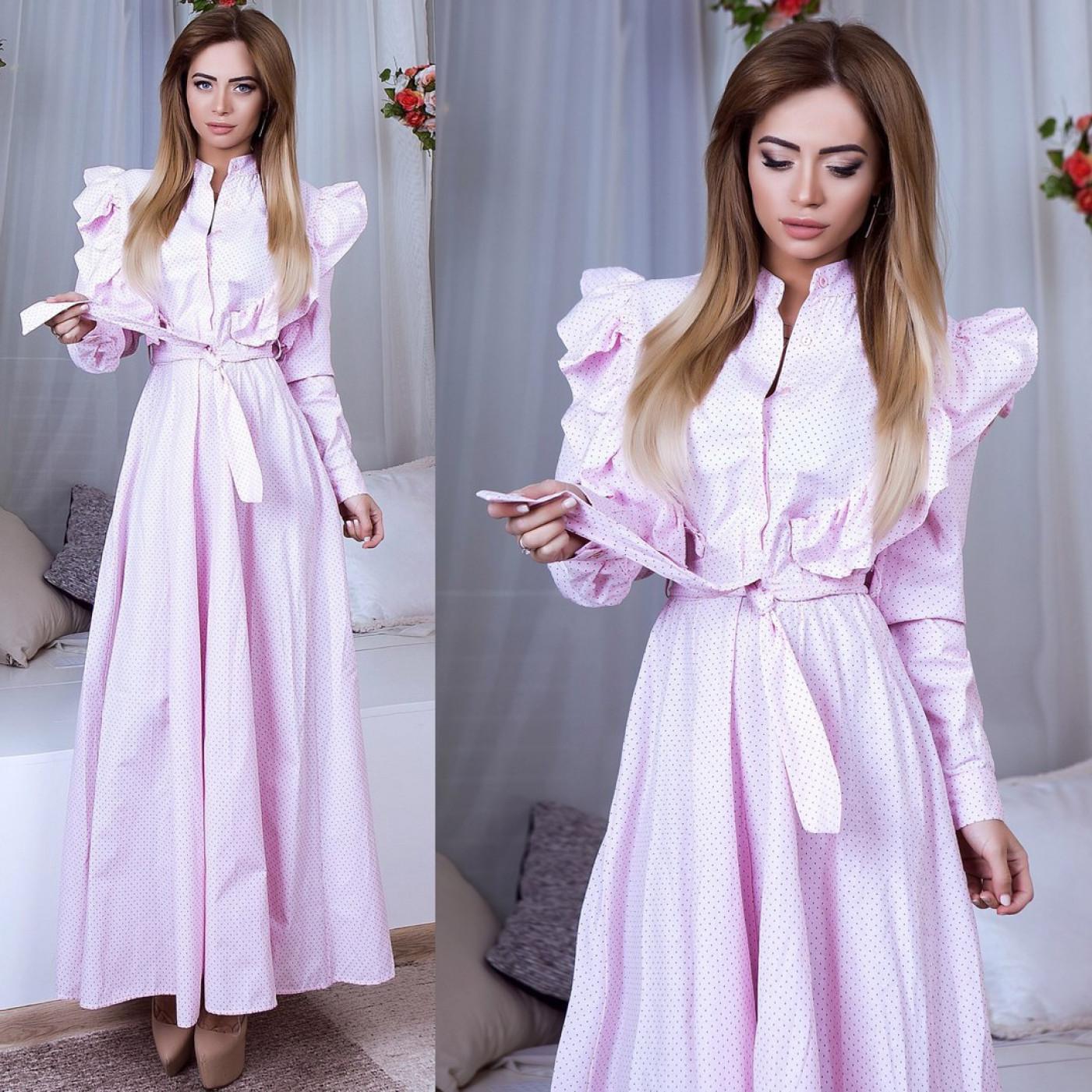 Платье с рюшей в пол 2257