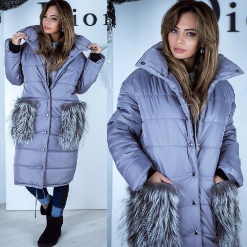 Пальто - куртка длинная с меховыми карманами 10963