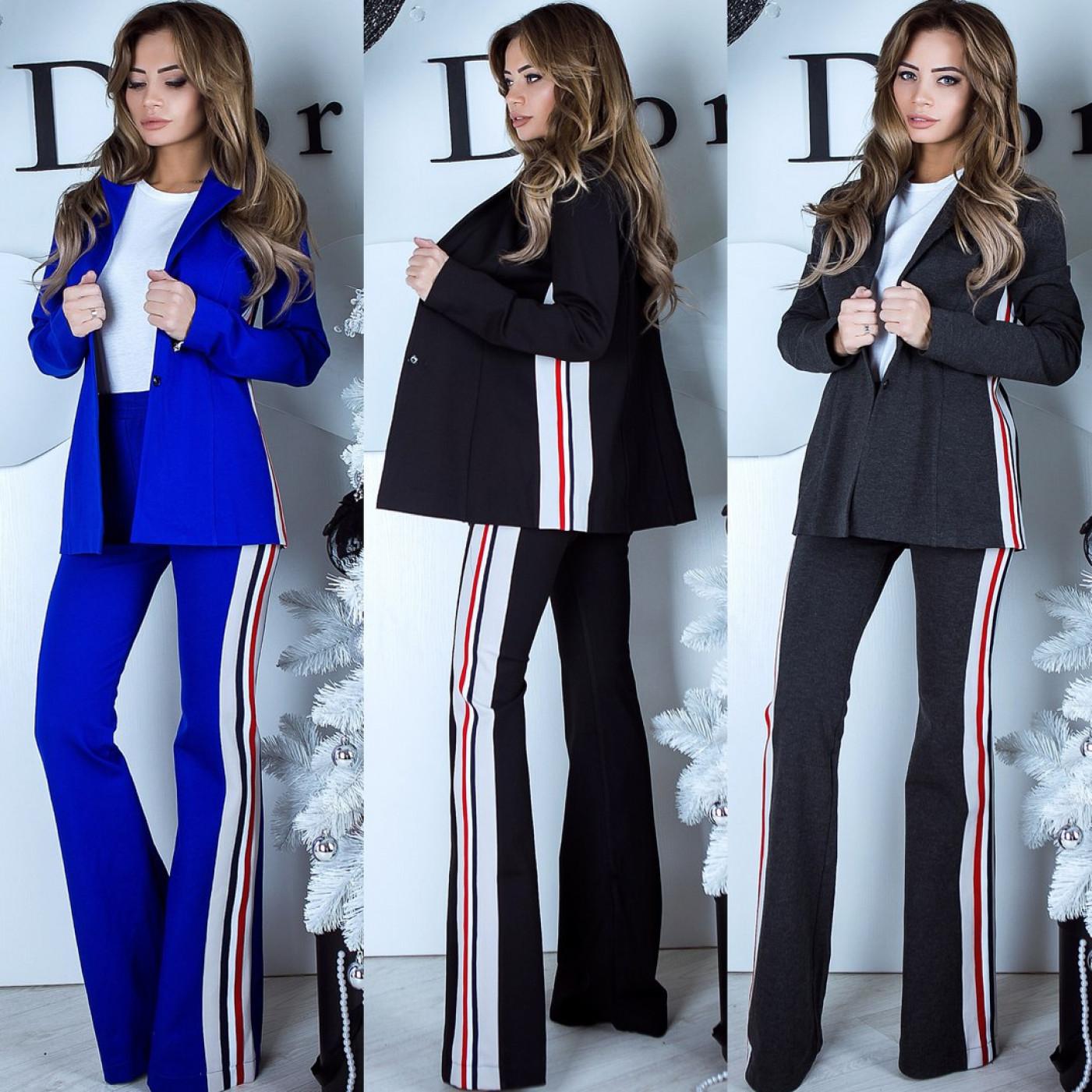 Костюм піджак + штани з боків вставки 10937