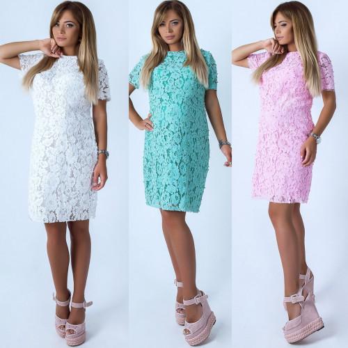 Платье гипюровое с жемчугом 10856