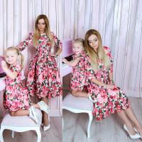Платье взрослое familylook Розы 10754