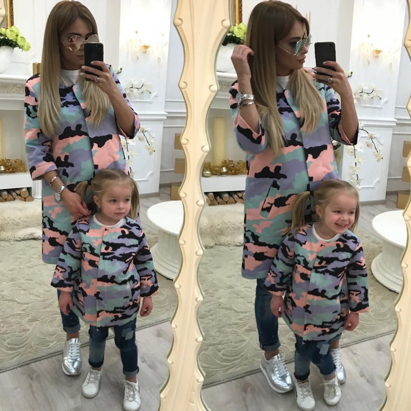 Пальто детское familylook Камуфляж 10311