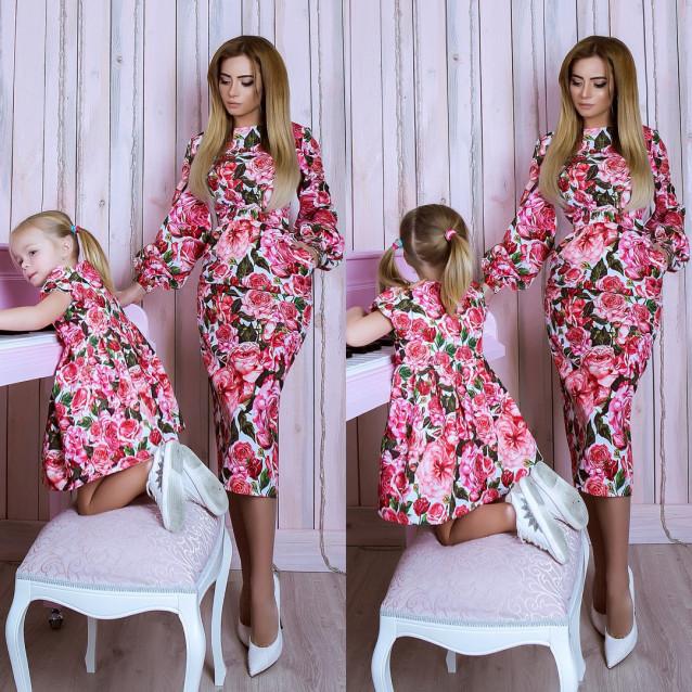 Платье детское familylook Розы 10755