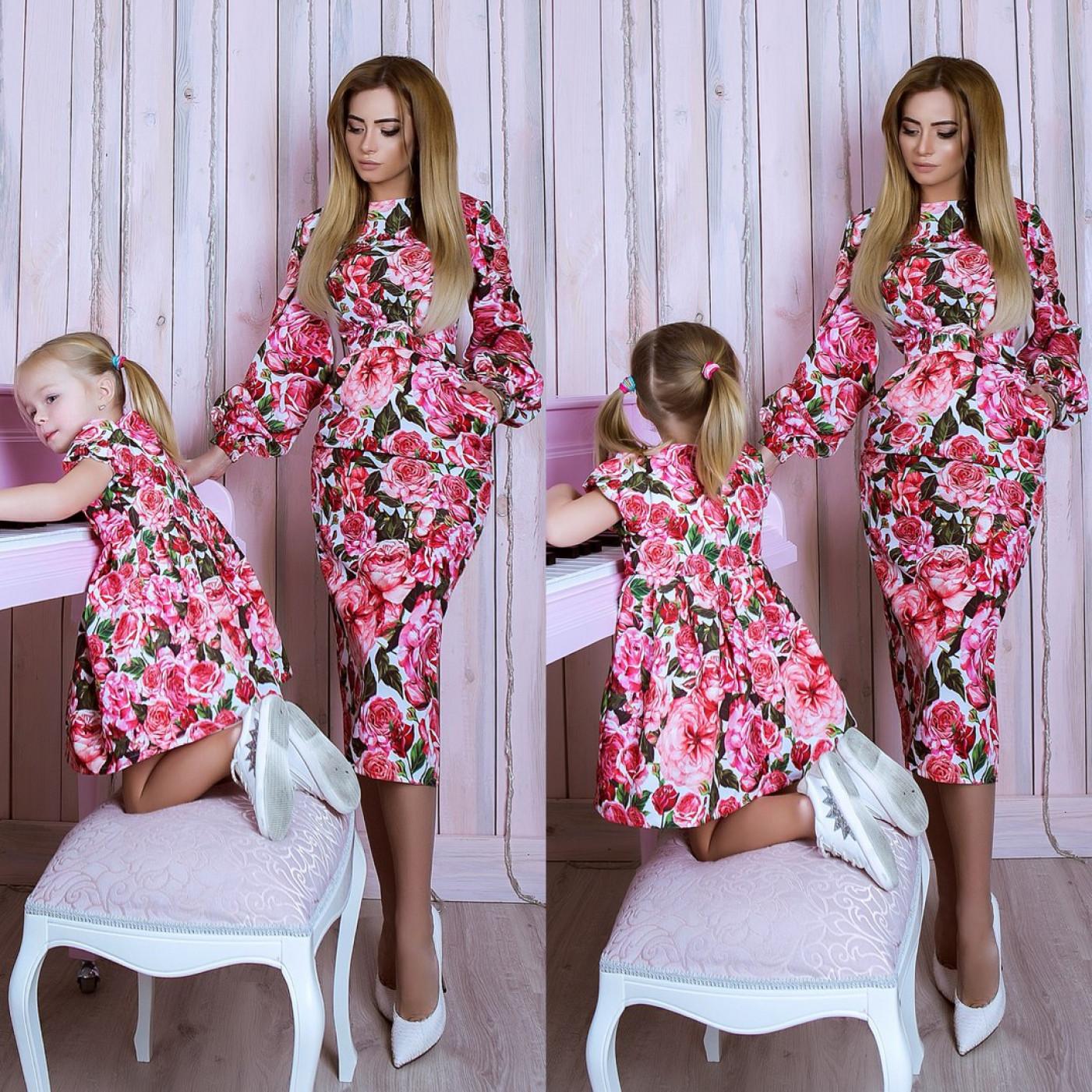 Платье взрослое Family Look Розовые Розы 10762