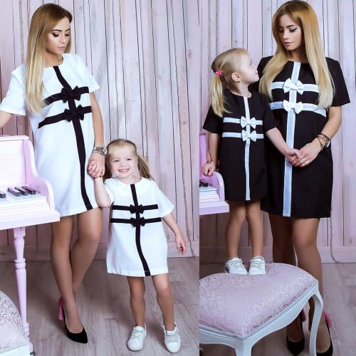 Платье взрослое Бантики familylook 10738