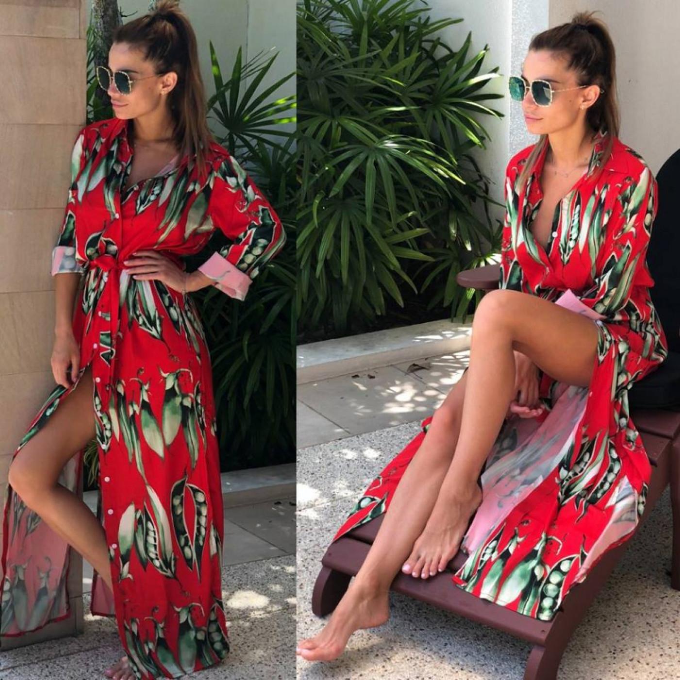 Сочное летнее платье-рубашка 11037