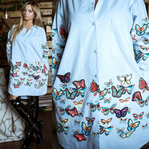Платье-рубашка с бабочками 6879