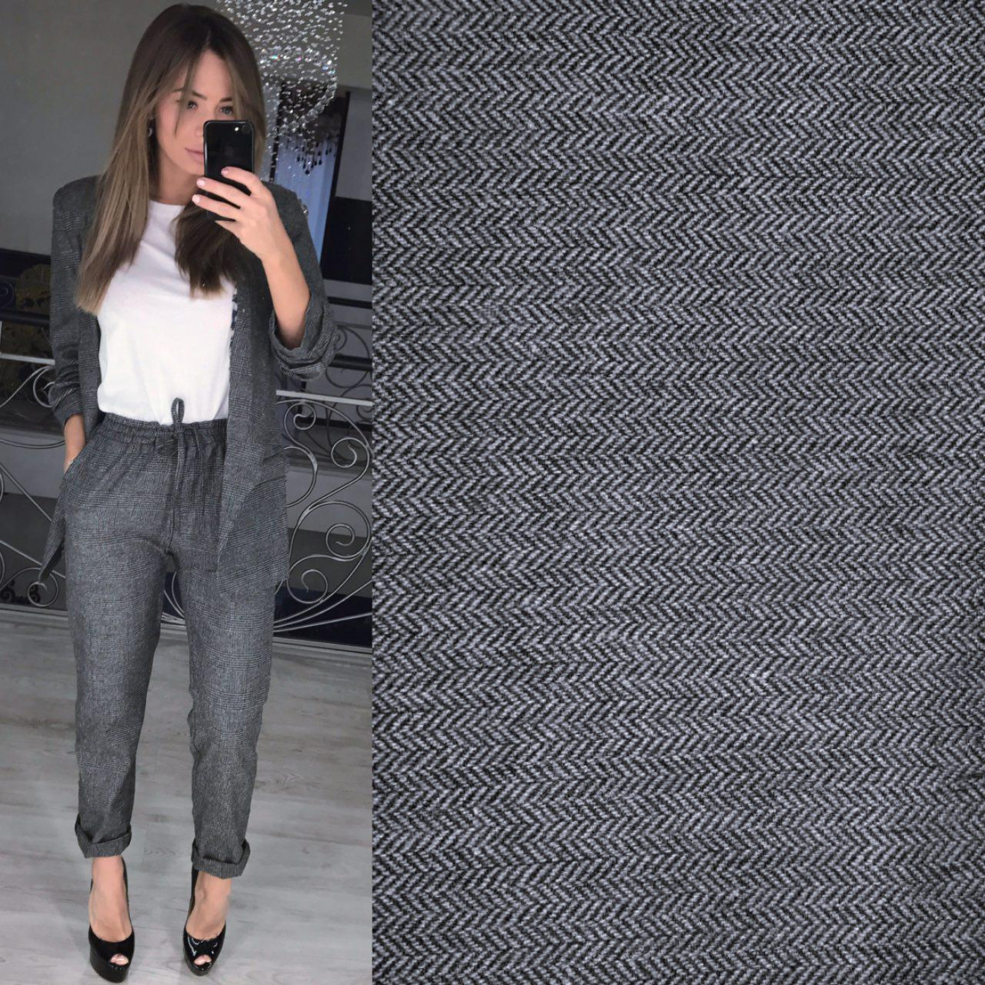 Костюм штаны+пиджак c присборенным рукавом 3/4 10925