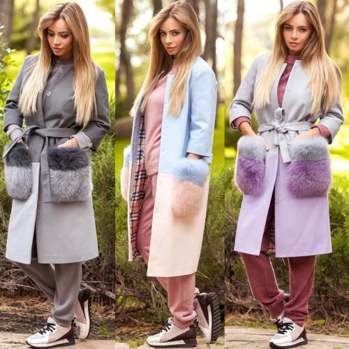 Пальто с меховыми карманами (песец) 10880