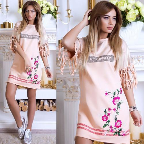 Платье свободное с цветами 4899-004