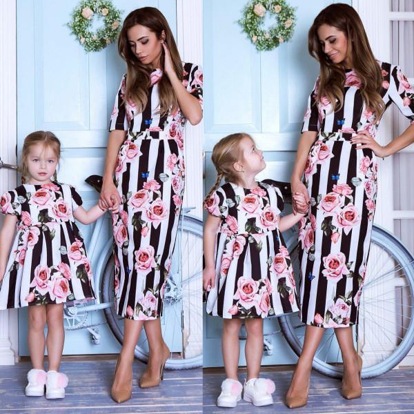 Платье взрослое в полоску familylook 11003
