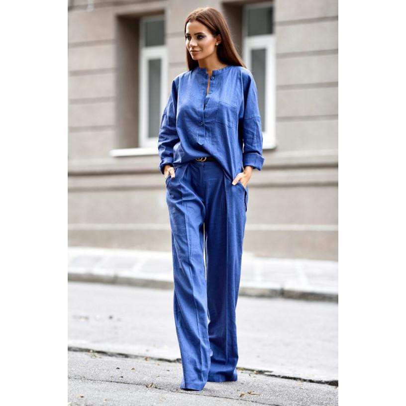 Лляний костюм зі штанами-кльош 11105-3