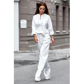 Льняной костюм со штанами-клеш 11105