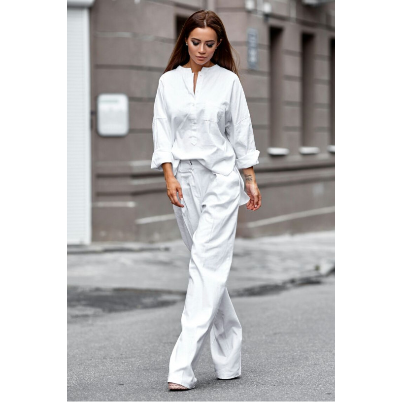 Лляний костюм зі штанами-кльош 11105-2