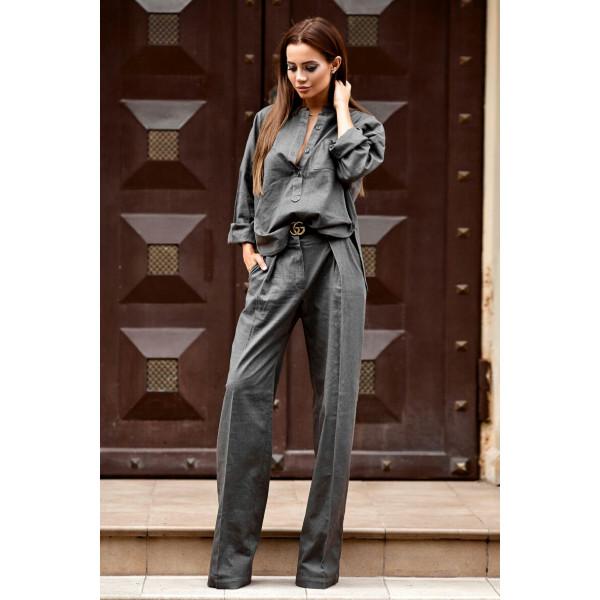 Льняной костюм со штанами-клеш 11105-4