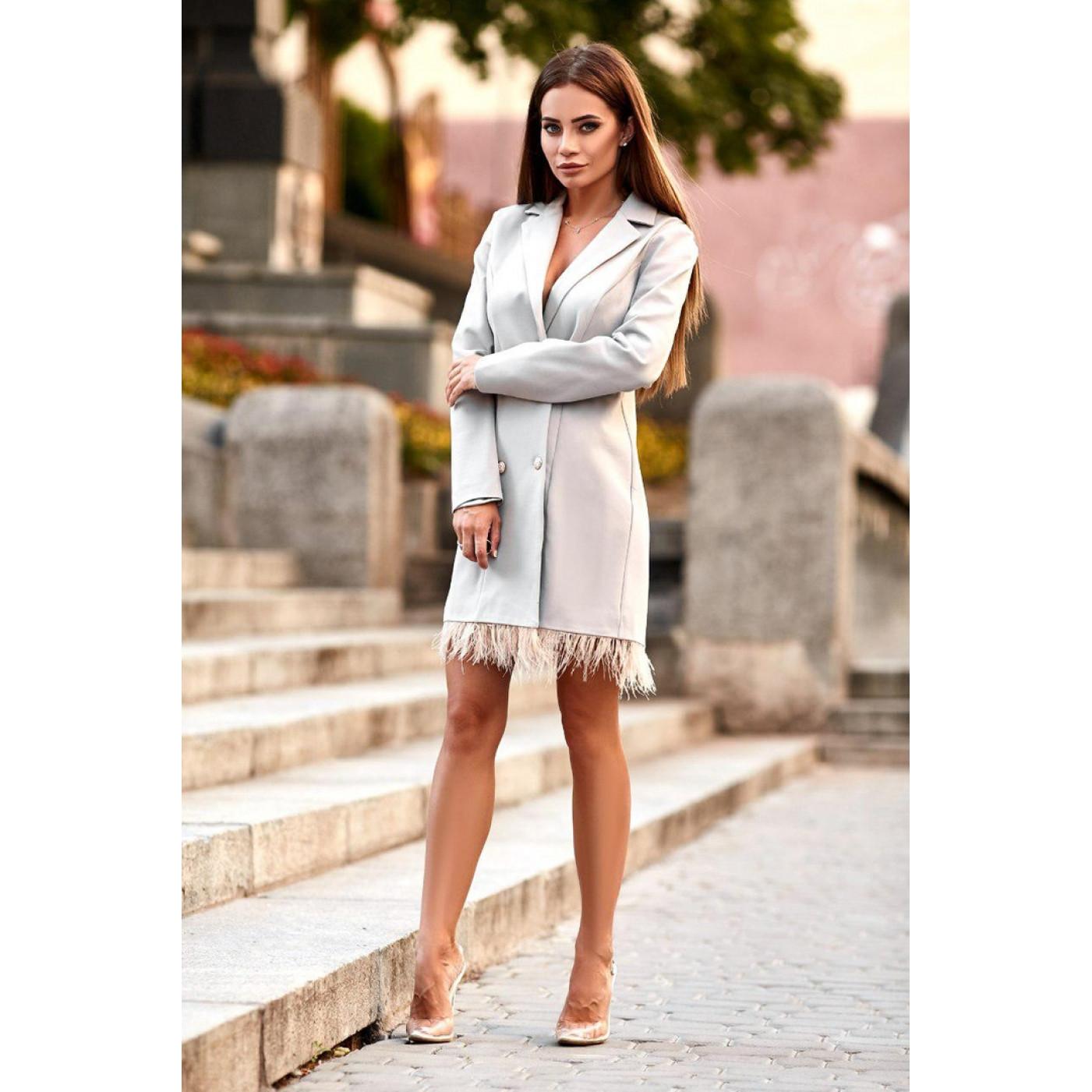 Сукня-піджак з пір'ям 10956