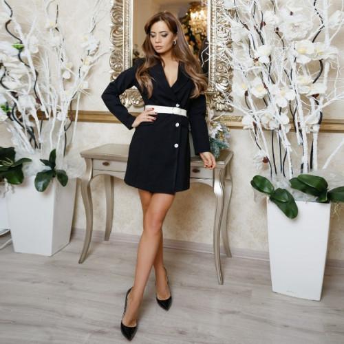 Элегантное платье с поясом 11166