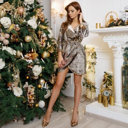 Короткое платье с пайетками 11159