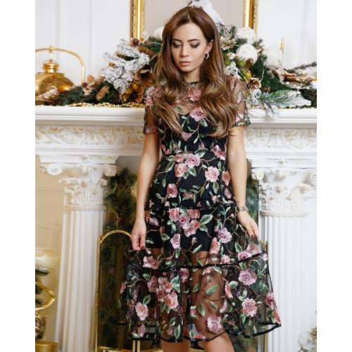 Элегантное платье с поясом 11058