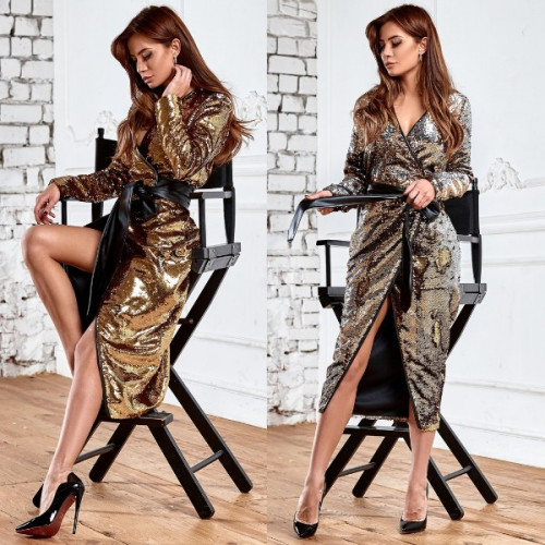 Платье с пайетками на запах 11192