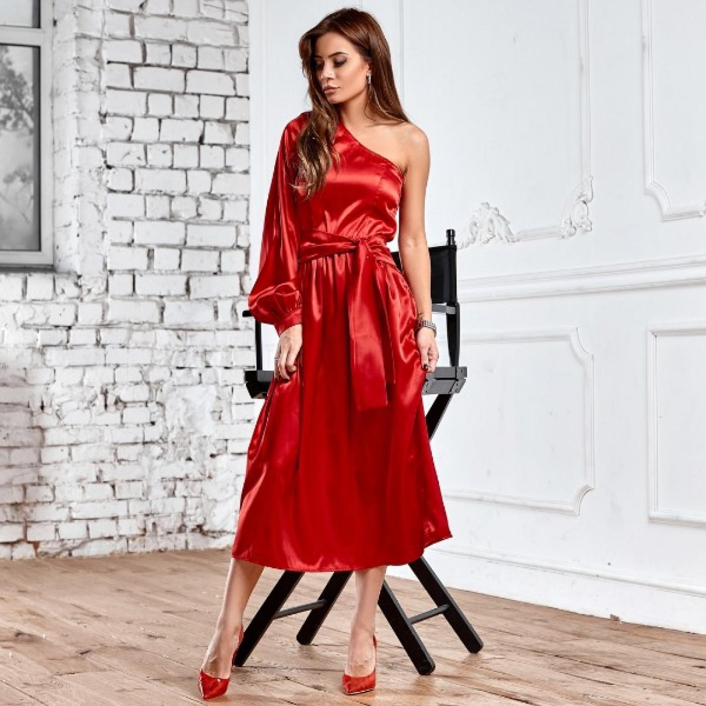 Асиметричне атласну сукню 11187