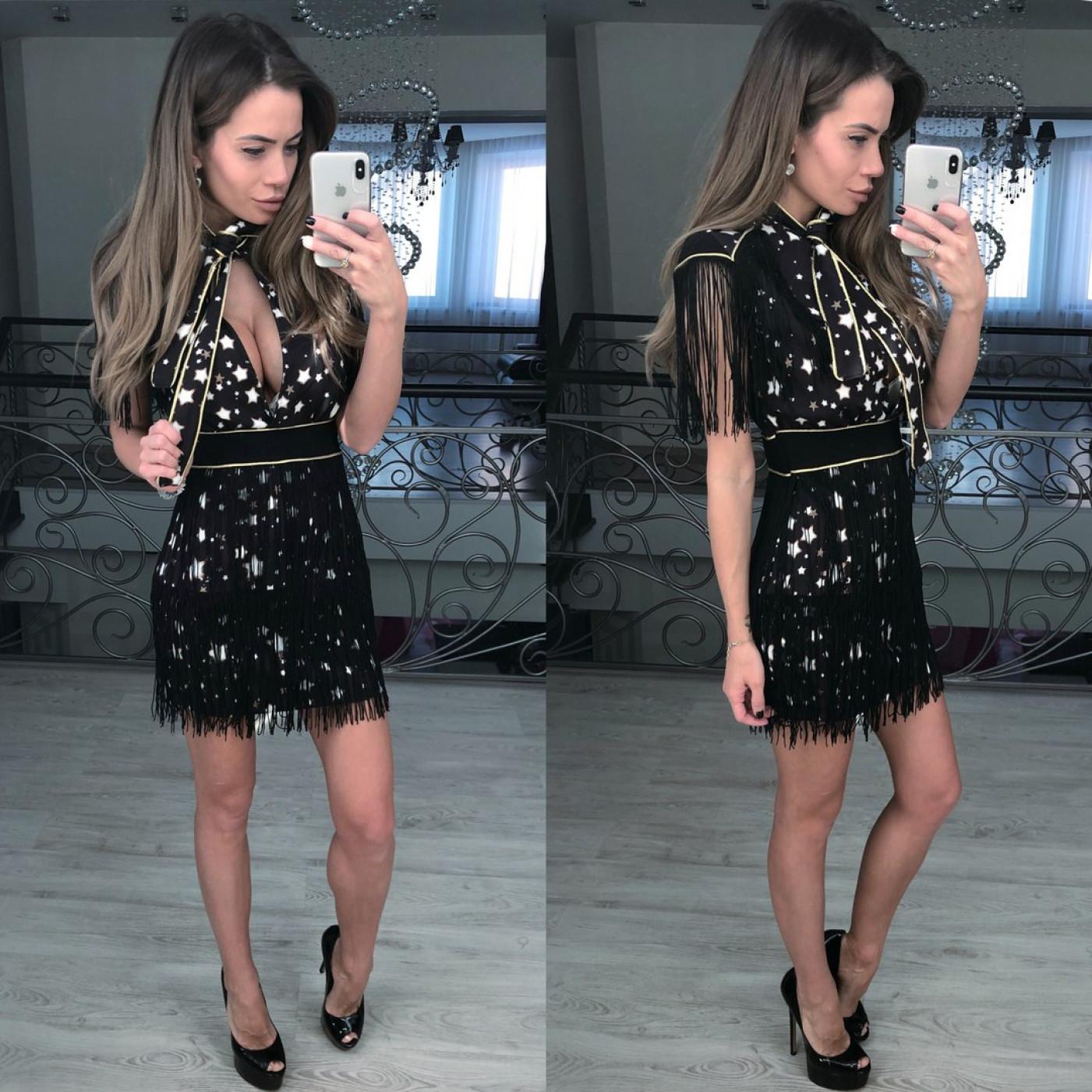 Вечірня сукня в зірках і бахромою 5584