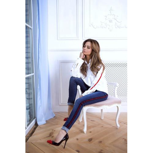 Модные джинсы с красно-синими лампасами и жемчугом 334-0