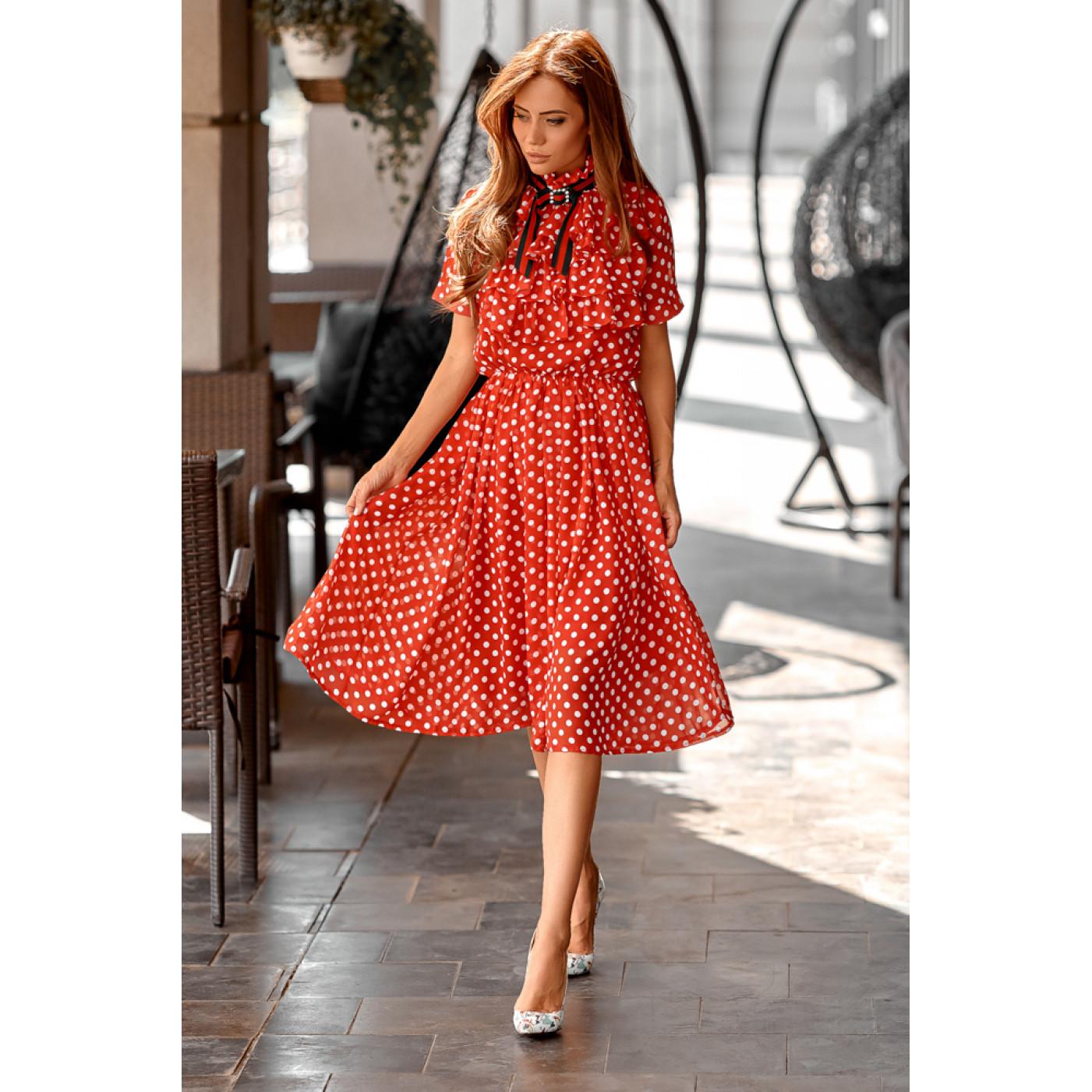 Платье шифоновое в горошек 11073