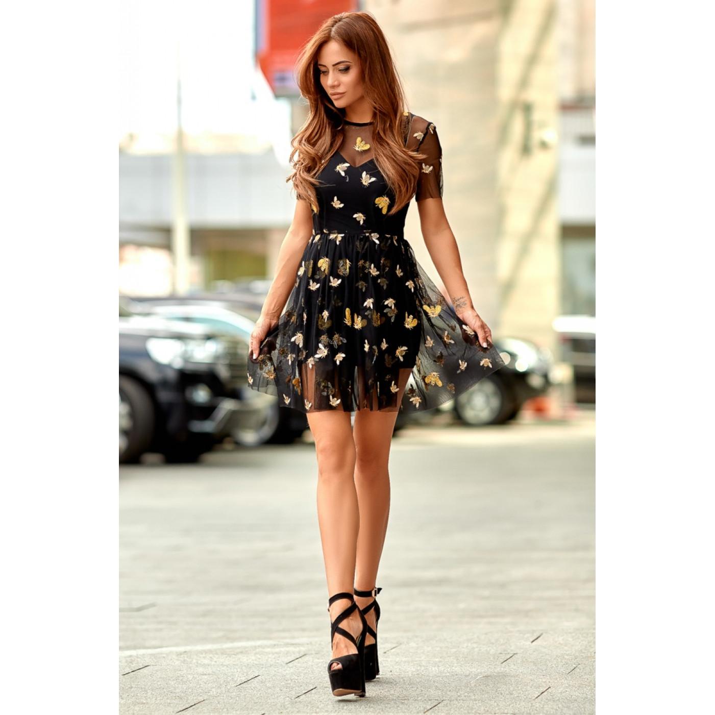 Сукня з фатину з золотими пчелками 11077