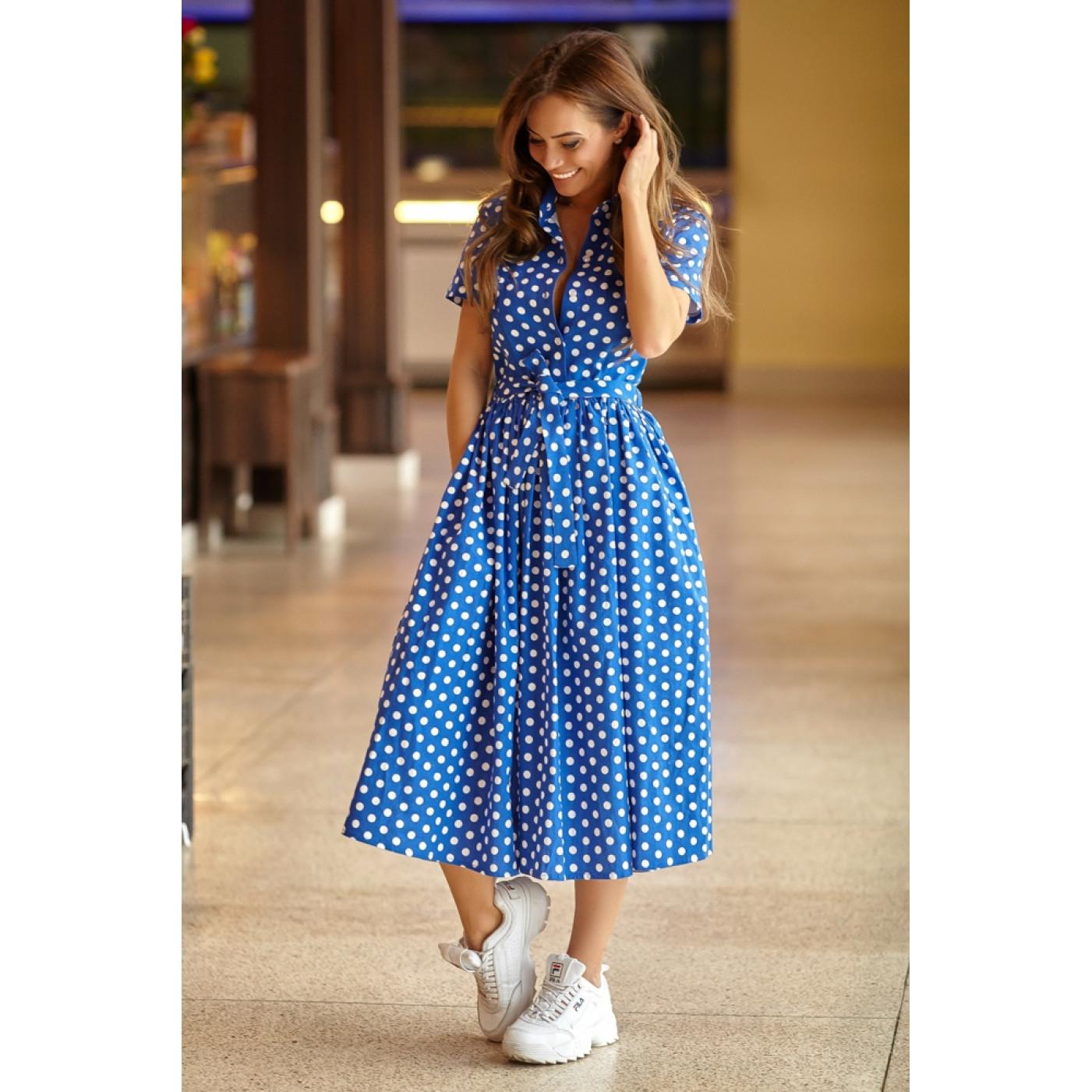 Длинное платье в горошек 11086