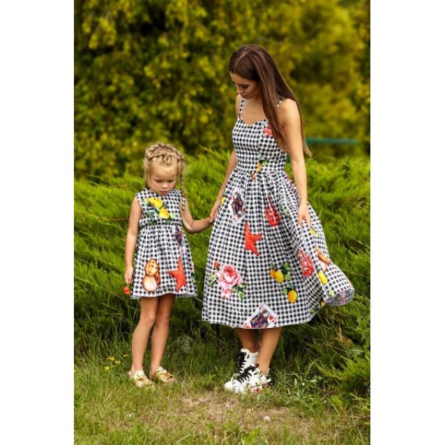 Платье в клетку (для дочек) 11093