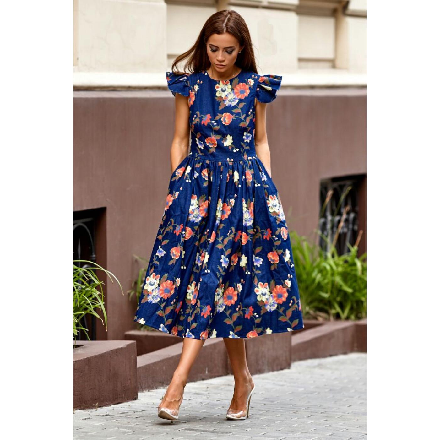 Модное джинсовое платье с принтом 11075