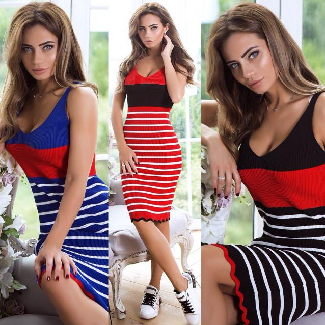 Яркое полосатое платье 8705