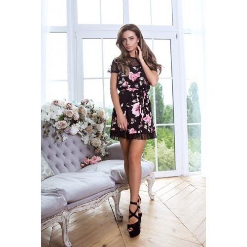 Платье короткое в цветок 6909