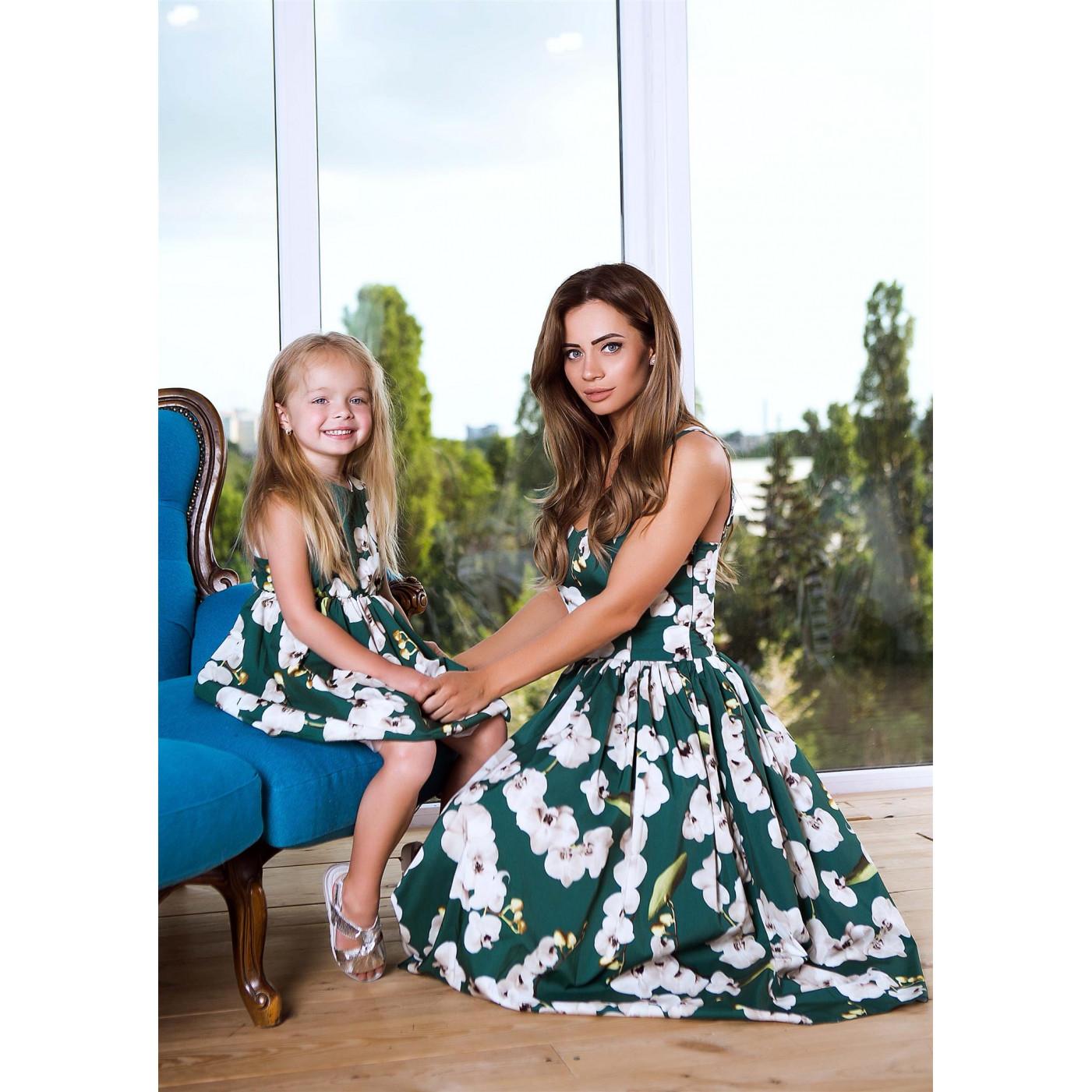 Яскраве доросле плаття familylook 11060