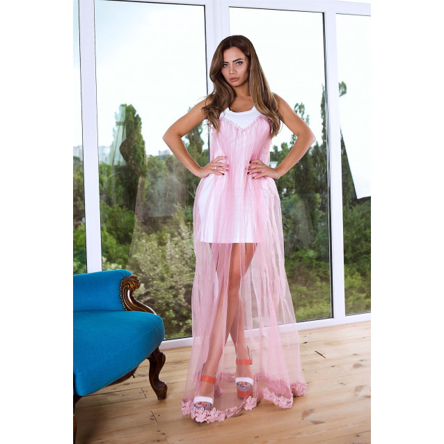 Платье в пол c фатином и кружево 10836