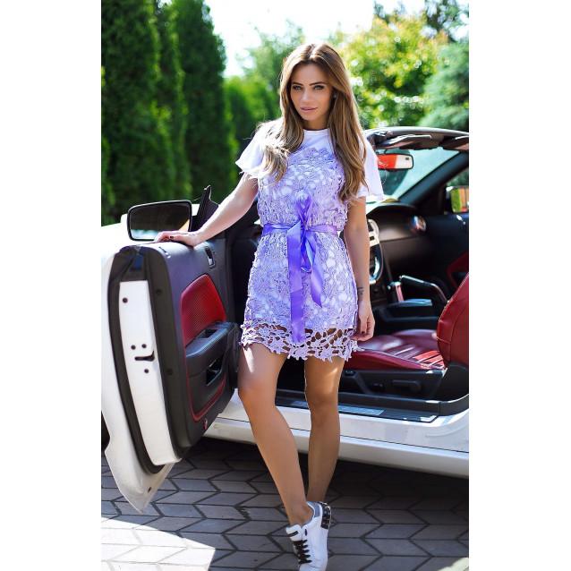 Платье с гипюром 10851