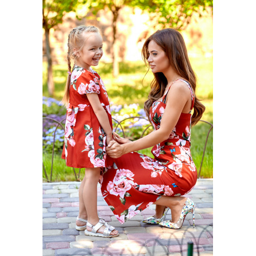 Платье Family Look взрослое , с розами 11064