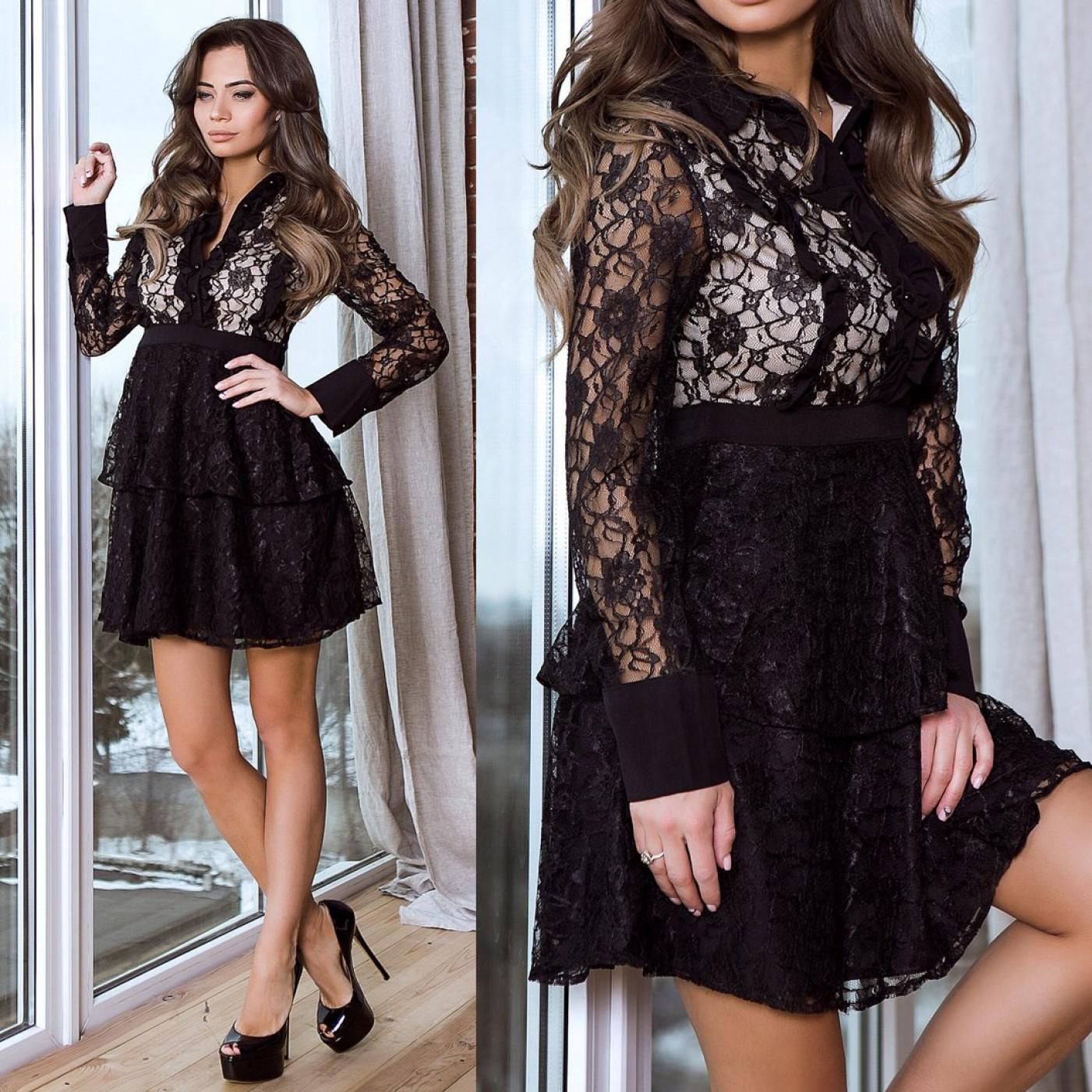 Чорне сміливе плаття з гіпюром 5634