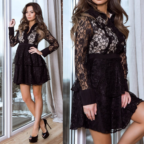 Черное смелое платье с гипюром 5634