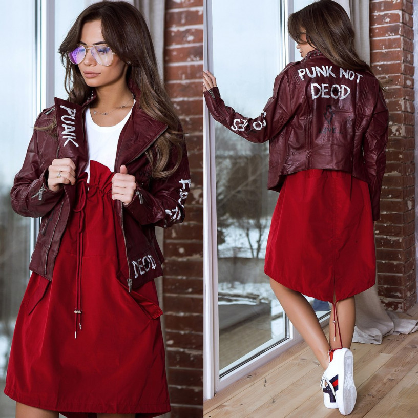 Куртка БАЙКЕРСКАЯ укороченная 10078-001