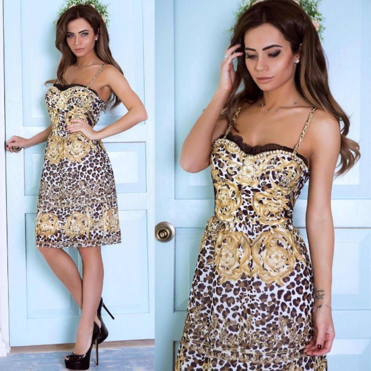 Открытое леопардовое платье  5112