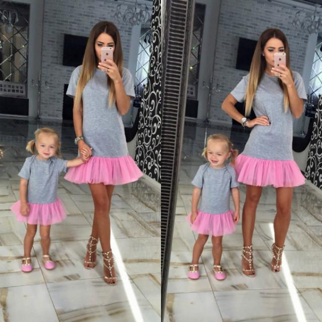 Милое взрослое платье с фатином familylook 10555