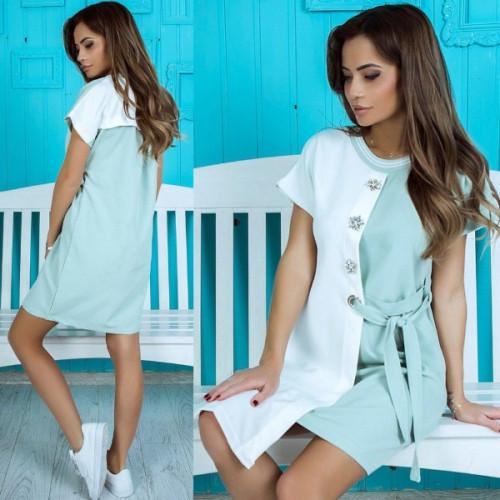 Оригинальное двухцветное платье длина до колена 1417