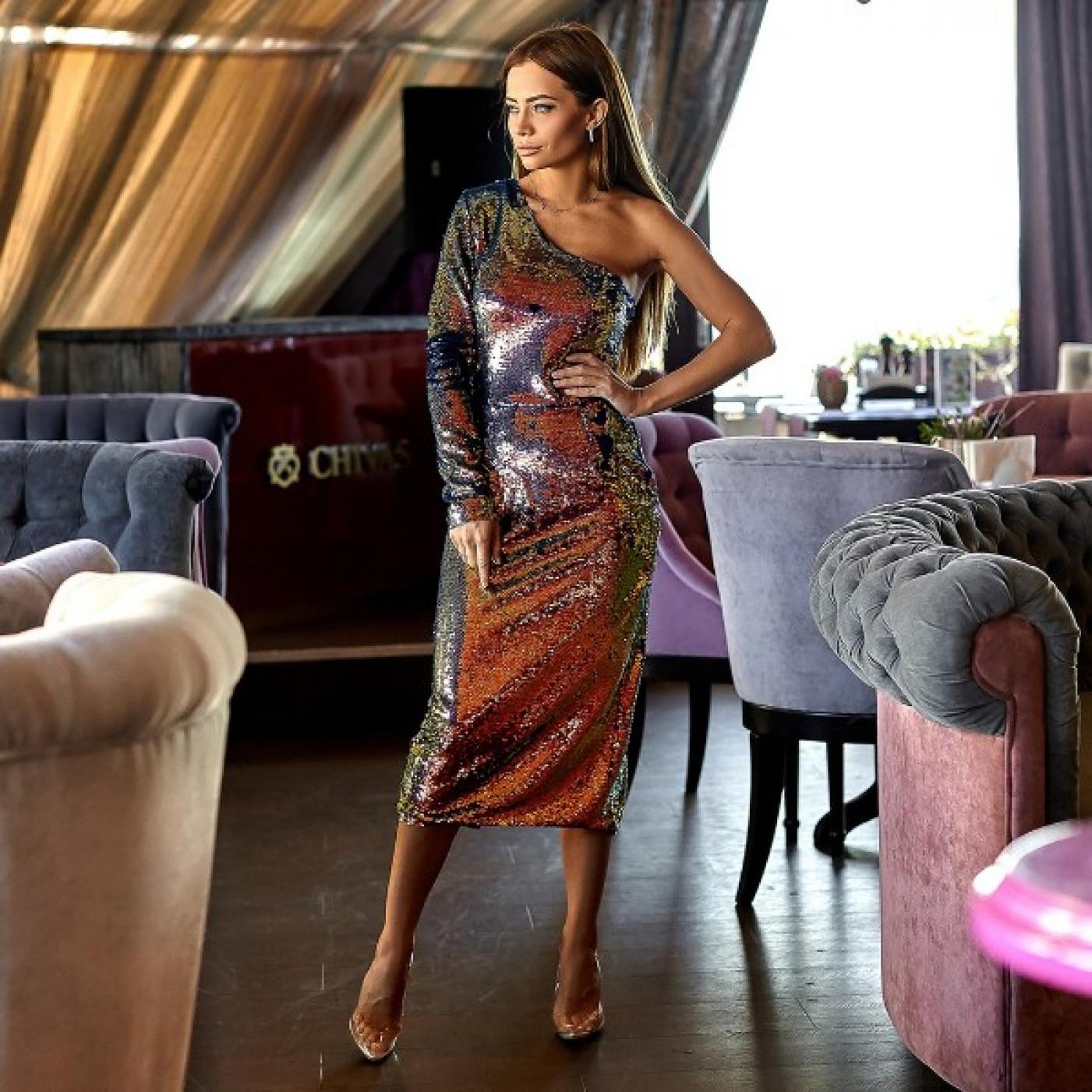 Силуэтное платье пайетки 11150
