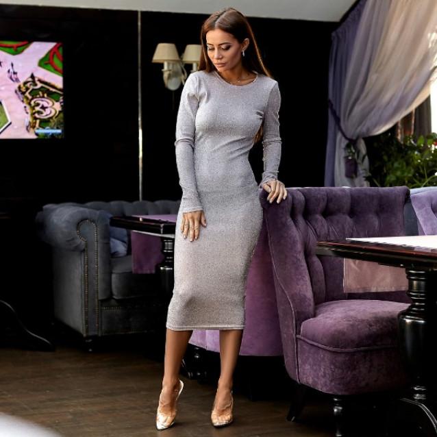 Платье облегающее люрекс 10914