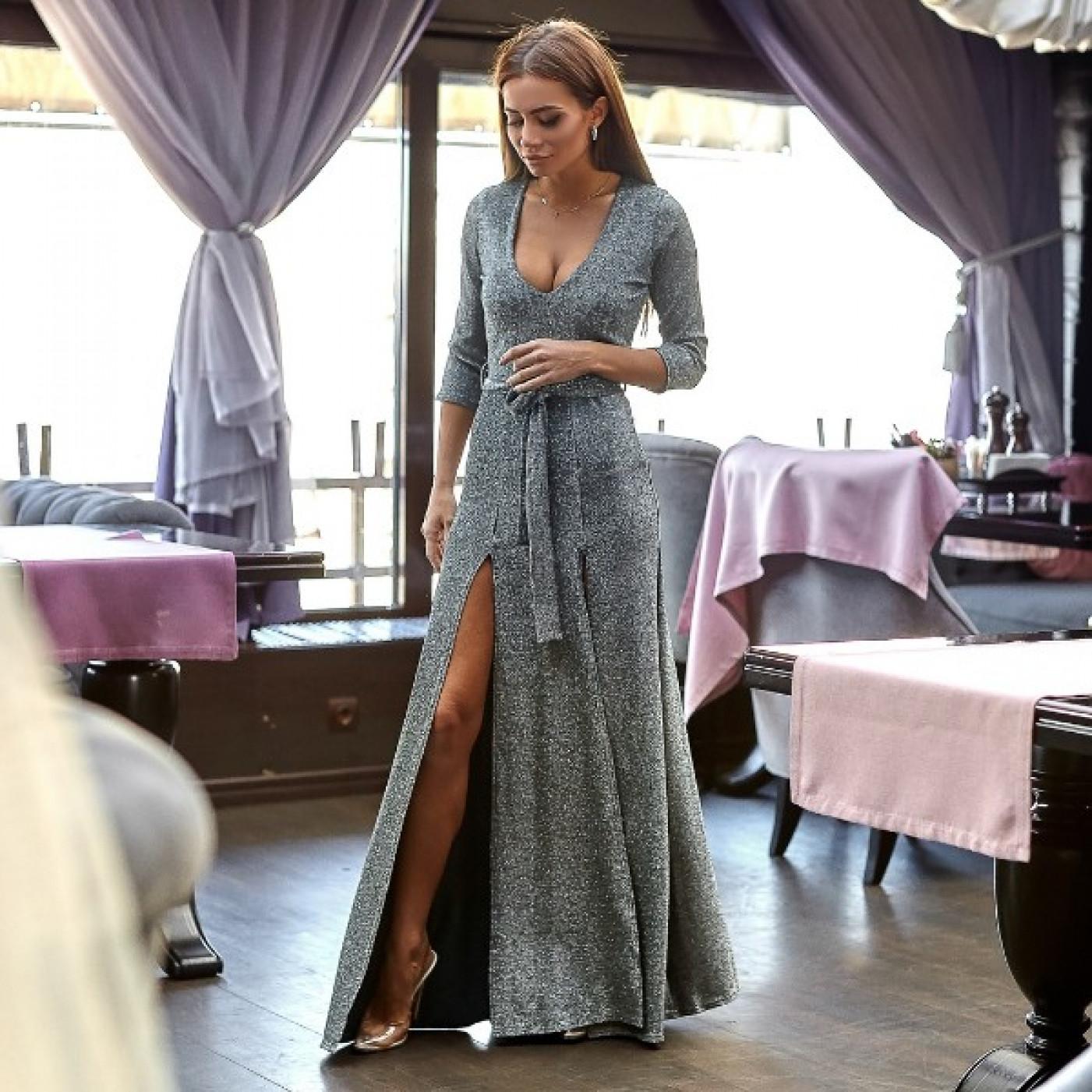 Плаття довге люрекс 10953