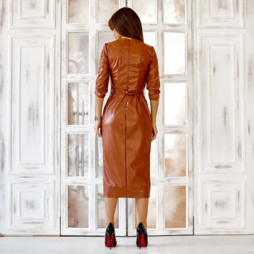 Кожаное платье с поясом 11160