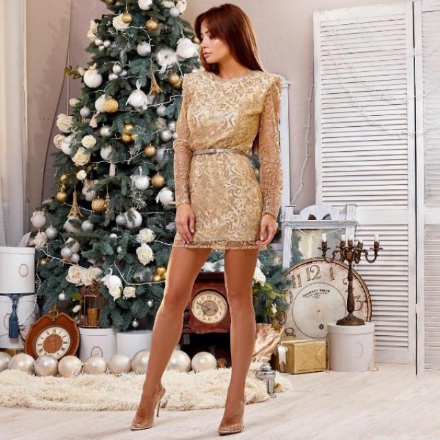 Блестящее платье с принтом 11177