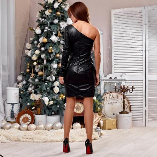 Платье кожаное с открытым плечом 423-0